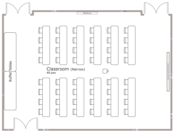 Classroom Layout Dimensions ~ Meetings banff ptarmigan inn