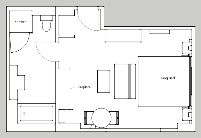 Floor plan mountain view room banff ptarmigan inn for Mountain view floor plans