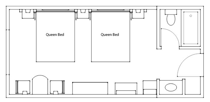 Floor Plan - Superior Hotel Room 2 Queens