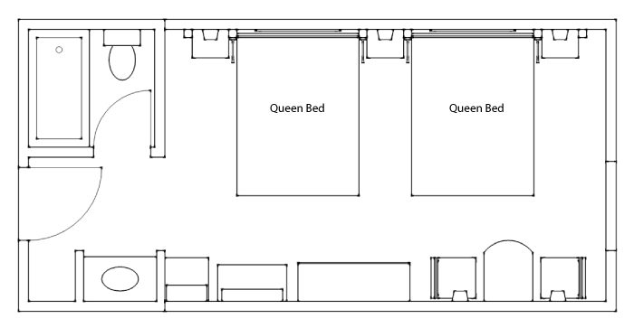 Floor Plan - Standard Hotel Room 2 Queens